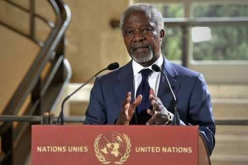 UN-Arab League envoy Kofi Annan speaks to the press in Geneva
