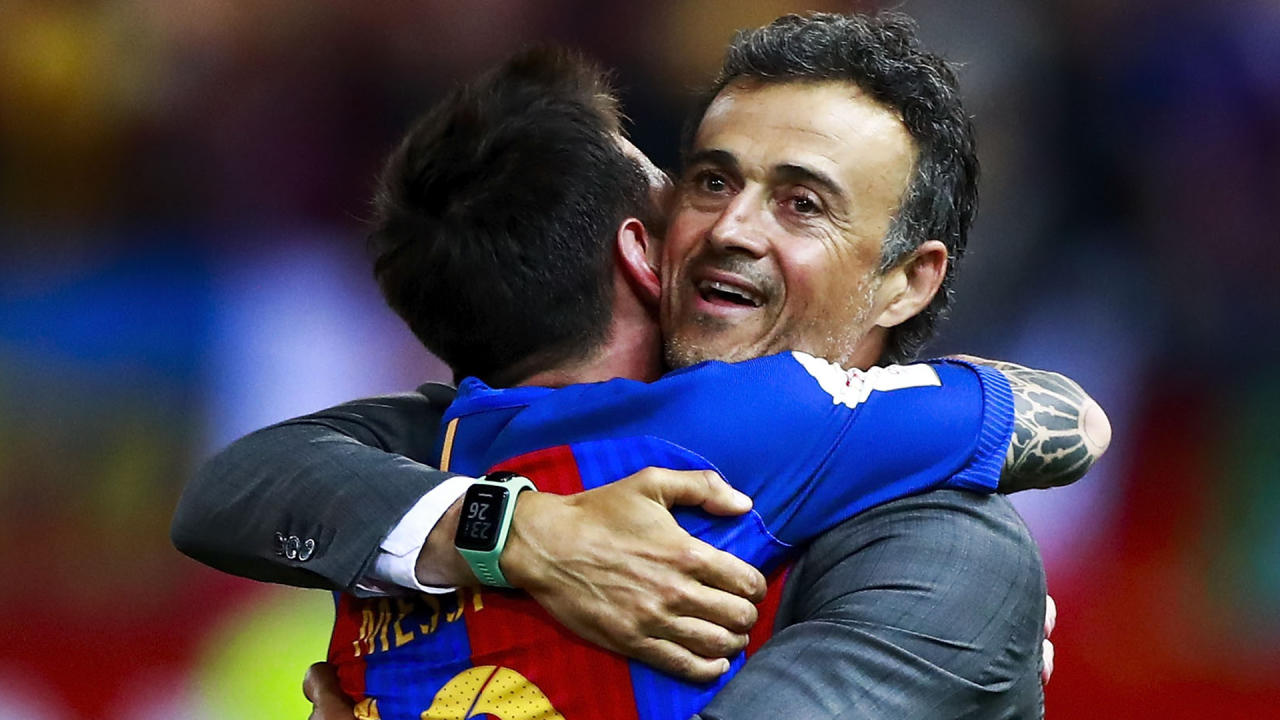 The Argentine superstar was hailed by the outgoing Barcelona coach once more after winning the Copa del Rey