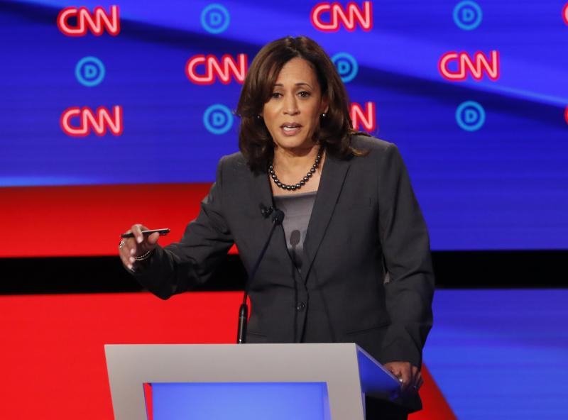 In this July 31, 2019, photo, Sen. Kamala Harris, D-Calif., participates in the second of two Democratic presidential primary debates hosted by CNN in Detroit. (AP Photo/Paul Sancya)