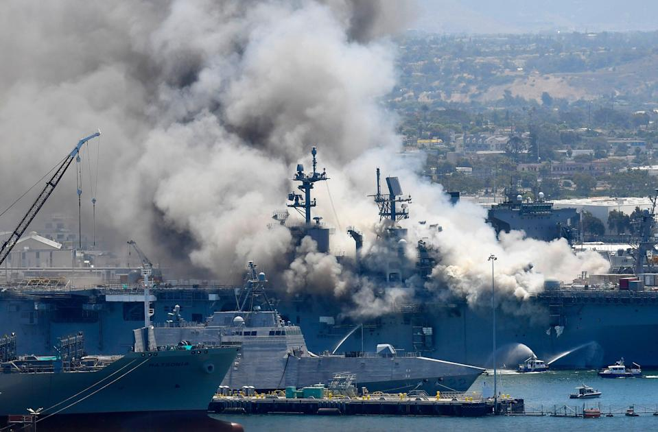 Navy Ship Fire (Copyright 2020 The Associated Press. All rights reserved.)
