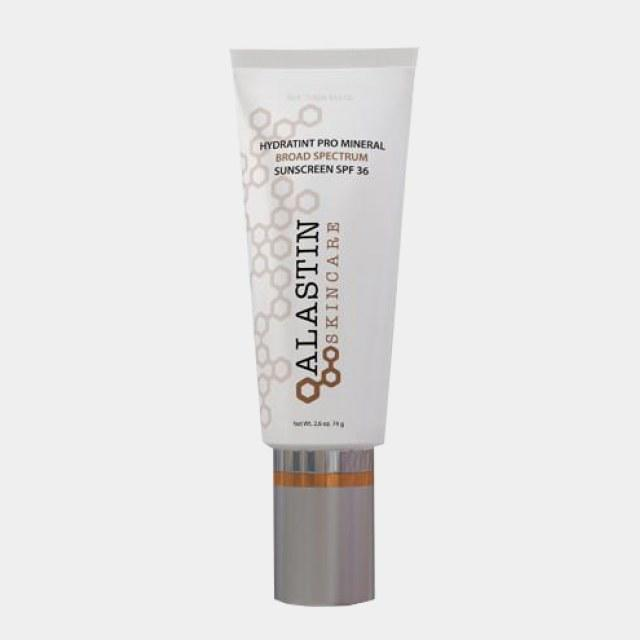 """Alastin HydraTint Pro Mineral Broad Spectrum Sunscreen SPF 36, $55, Buy it now """"Its matte formula provides a powerful yet lightweight UVA/UVB protection, as well as skin hydrating ingredients. It also has age defying antioxidants such as green tea extract and vitamin E that protect against pollution-induced damage. With its subtle tint that evens out my complexion, it allows me to start my day without any makeup on!""""—Shereene Idriss, M.D."""