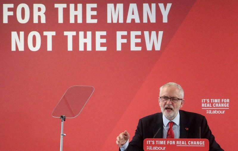 Britain's opposition Labour Party leader Jeremy Corbyn speaks about Brexit during a general election campaign meeting in Harlow