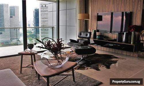 Living room with a stunning view of the Singapore Flyer