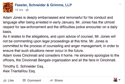 Statement from Adam Jones' attorneys. (Facebook)
