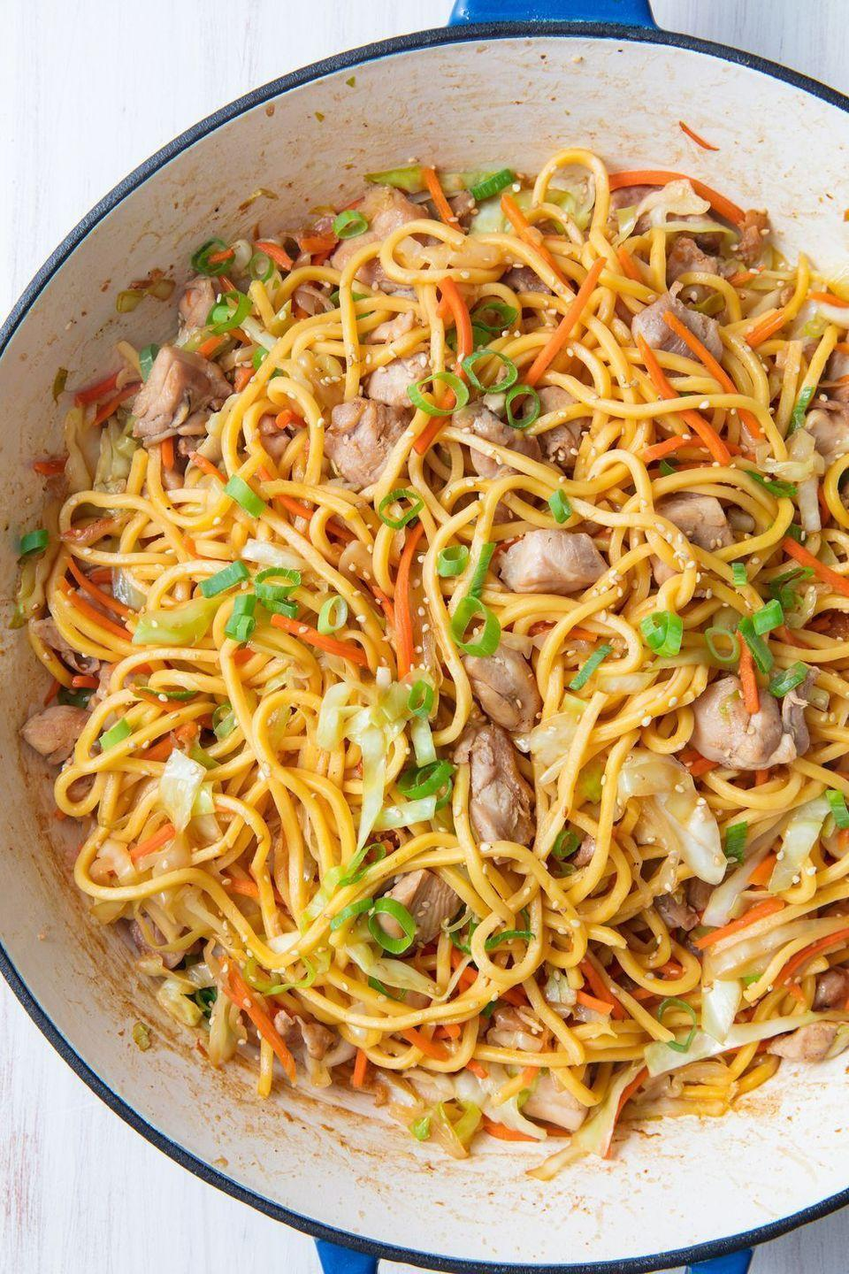 "<p>Chow mein is our go-to for all types of meals, from an <a href=""https://www.delish.com/uk/easy-dinner-ideas/"" rel=""nofollow noopener"" target=""_blank"" data-ylk=""slk:easy dinner"" class=""link rapid-noclick-resp"">easy dinner</a> to a serious <a href=""https://www.delish.com/uk/cocktails-drinks/a30873516/hangover-cures/"" rel=""nofollow noopener"" target=""_blank"" data-ylk=""slk:hangover"" class=""link rapid-noclick-resp"">hangover</a>. We love the kick this recipe gets from fresh ginger, but if you're not a fan, skip it.</p><p>Get the <a href=""https://www.delish.com/uk/cooking/recipes/a30959950/chicken-chow-mein-recipe/"" rel=""nofollow noopener"" target=""_blank"" data-ylk=""slk:Chicken Chow Mein"" class=""link rapid-noclick-resp"">Chicken Chow Mein</a> recipe. </p>"