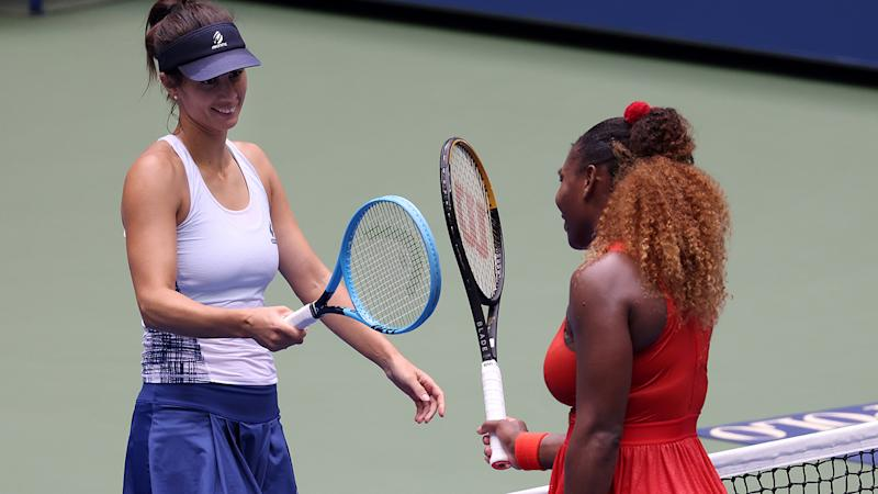 Serena Williams and Tsvetana Pironkova, pictured here after their quarter-final clash at the US Open.