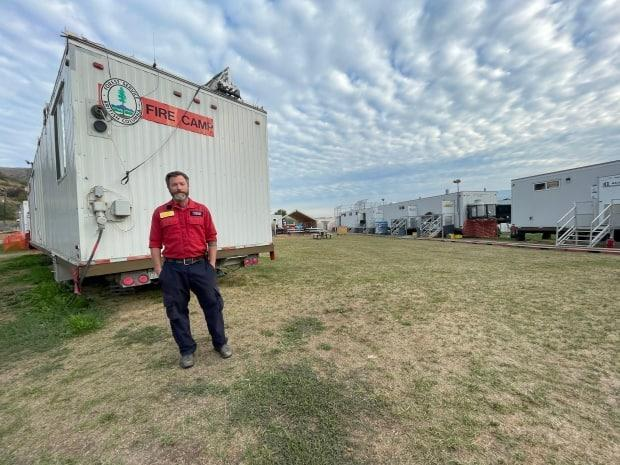 Stefan Hood, logistics section chief with the B.C. Wildfire Service, is getting ready to pack up the Vernon camp which once held more than 500 firefighters battling the White Rock Lake fire that still spans over 8,000 square kilometres. (Dana Kelly/CBC - image credit)