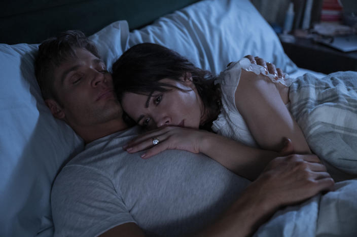 """Mike Vogel and Sarah Shahi in 'Sex/Life'<span class=""""copyright"""">SOPHIE GIRAUD/NETFLIX</span>"""
