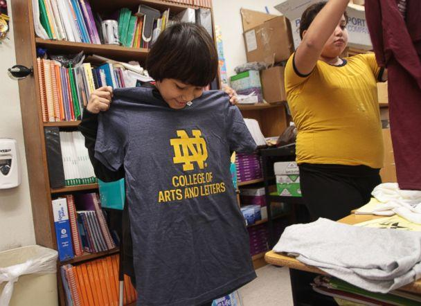 PHOTO: So far, 30 universities have donated college t-shirts to Copperfield Elementary School in Texas after third grade teacher Margaret Olivarez reached out asking for t-shirt donations. (Pflugerville ISD )