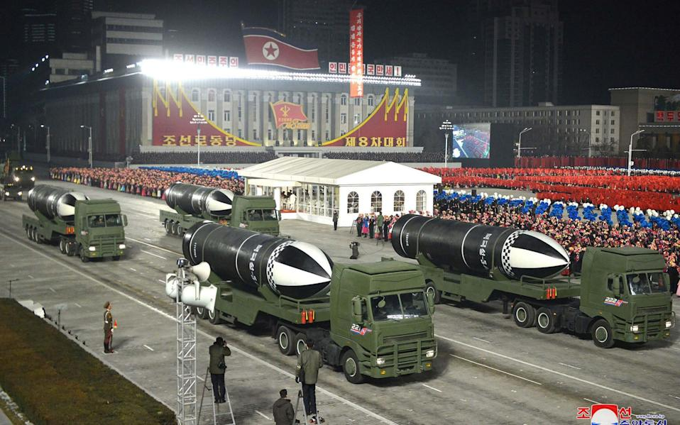 Submarine launched ballistic missiles were showcased at the parade - AFP