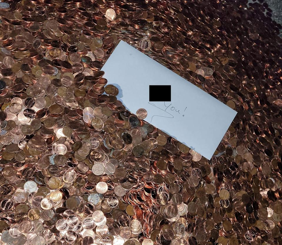 The pennies were accompanied by a note (Olivia Oxley)