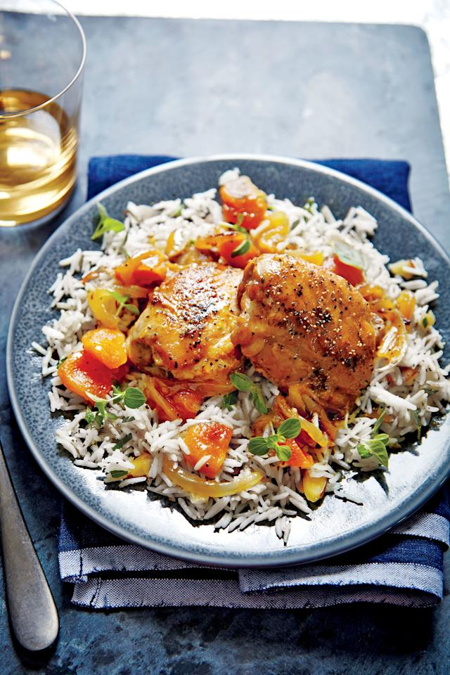 """<p><strong>Recipe: <a href=""""https://www.southernliving.com/syndication/honey-apricot-glazed-chicken"""" target=""""_blank"""">Honey-Apricot-Glazed Chicken</a></strong></p> <p>Add a base of basmati rice to complement the honey glaze. You're going to love the sweet and savory flavor combination in our delicious Honey-Apricot-Glazed Chicken. </p>"""