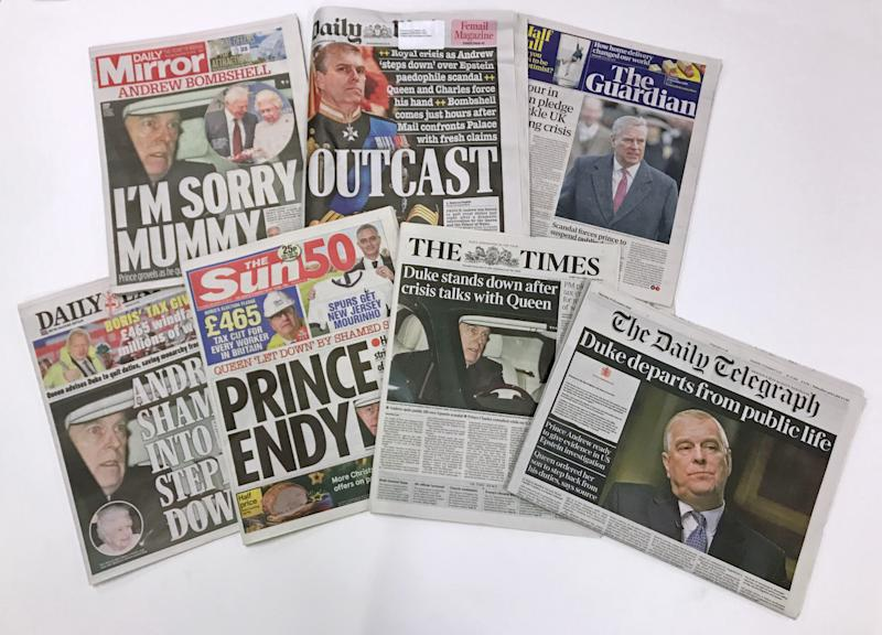 The front pages of national newspapers the day after the Duke of York suspended his work with his charities, organisations and military units because of the fallout from his friendship with sex offender Jeffrey Epstein. (Photo by Zoe Linkson/PA Images via Getty Images)