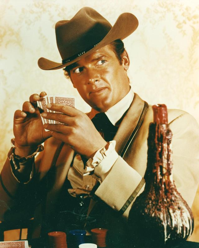 """<p>When <a href=""""https://www.yahoo.com/movies/tagged/james-garner"""" data-ylk=""""slk:James Garner"""" class=""""link rapid-noclick-resp"""">James Garner</a> left ABC's hit Western series about poker-playing siblings following its second season, producers brought in Moore as a replacement but he only lasted one year before quitting himself, citing bad writing. (Photo: Alamy) </p>"""