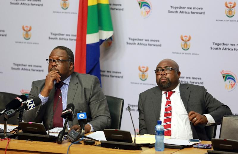 Public Works Minister Thulas Nxesi (right) is among ministers reportedly calling on Jacob Zuma to resign (AFP Photo/Nardus Engelbrecht)