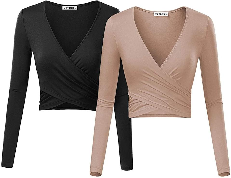<p>You can't go wrong with these stylish <span>Vetior Women's Deep V Neck Long Sleeve Slim Fit Cross Wrap Crop Tops</span> ($29).</p>