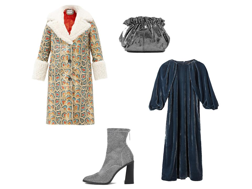 <p>Linda faux shearling-trimmed faux-leather coat, £500, Matches Fashion; Silver sock block heel ankle boots, £48, River Island; Silk Velvet Puff Sleeve Dress, £99, Cos; Loeffler Randall, Willa metallic suede clutch, £215, Net-a-Porter</p>The Independent