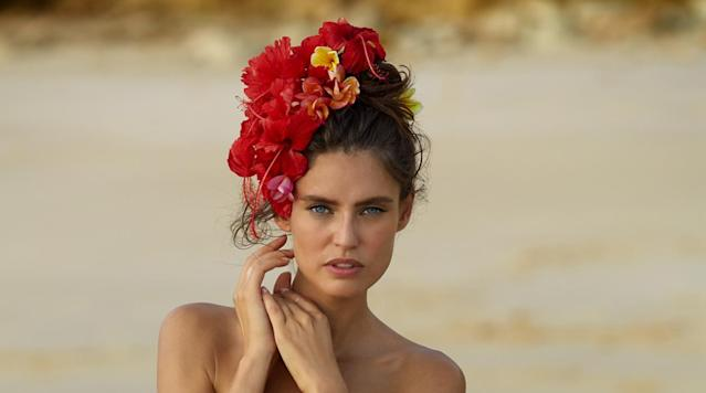 Bianca Balti was photographed by James Macari in Sumba Island. Swimsuit by Blue Life Swim.