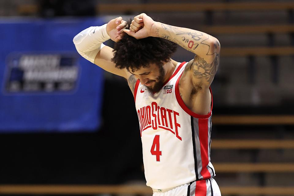 Duane Washington Jr. Ohio State reacts at the end of regulation against Oral Roberts on March 19. (Gregory Shamus/Getty Images)