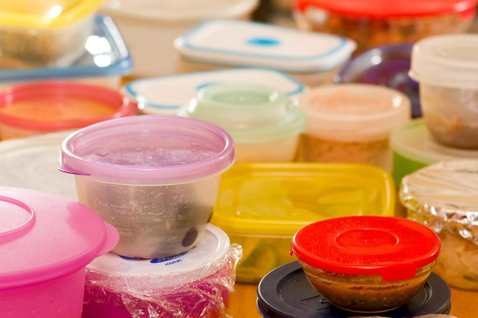 Several plastic food containers with leftovers.Click to see more food shots: