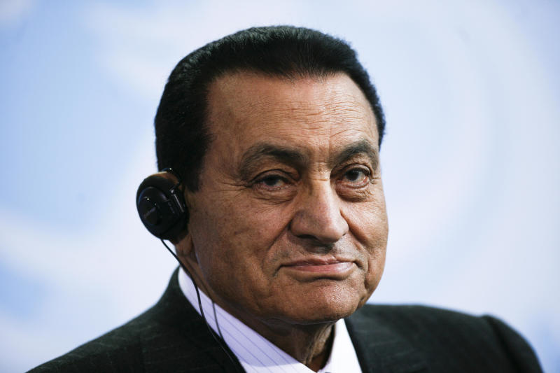 FILE - In this Thursday, March 4, 2010 file photo, Egyptian President Hosni Mubarak addresses the media after a meeting with German Chancellor Angela Merkel, not pictured, at the chancellery in Berlin, Germany. Officials say an Egyptian court has ordered the release of ex-President Mubarak, but it's not immediately clear whether the prosecutors will appeal the order. (AP Photo/Markus Schreiber, File)