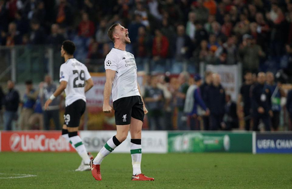 <p>Soccer Football – Champions League Semi Final Second Leg – AS Roma v Liverpool – Stadio Olimpico, Rome, Italy – May 2, 2018 Liverpool's Jordan Henderson celebrates after the match REUTERS/Max Rossi </p>