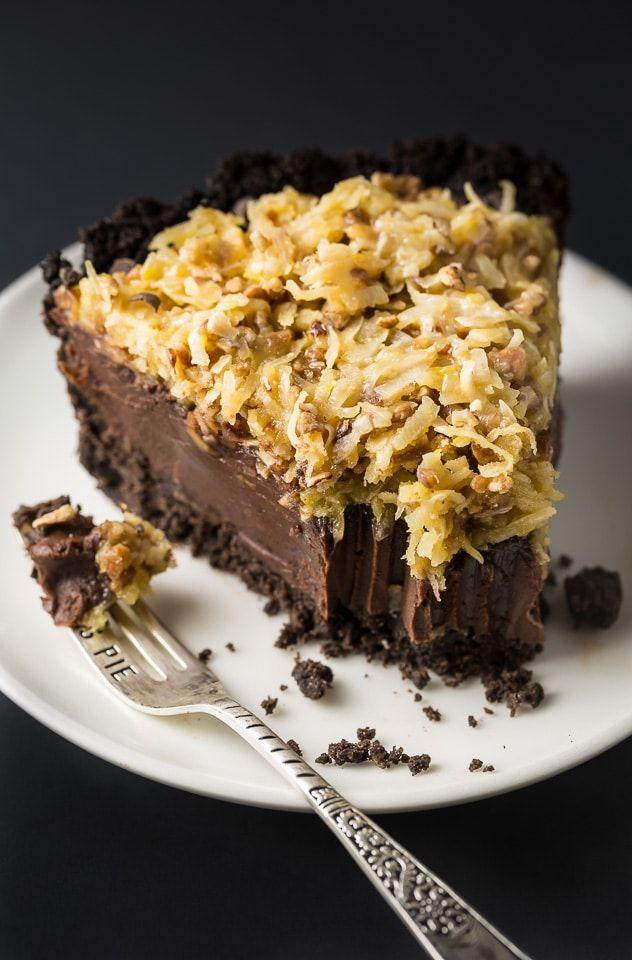 """<p>Think of this dessert as a classic German chocolate cake—but even better. Why? Well, it's filled with even more chocolatey goodness, and you don't even have to turn on the oven to make it!</p><p><strong>Get the recipe at <a href=""""https://bakerbynature.com/no-bake-german-chocolate-pie/"""" target=""""_blank"""">Baker by Nature</a>.</strong></p><p><strong><a class=""""body-btn-link"""" href=""""https://go.redirectingat.com?id=74968X1596630&url=https%3A%2F%2Fwww.walmart.com%2Fip%2FAnchor-Hocking-9-Glass-Pie-Plate%2F14938493&sref=http%3A%2F%2Fwww.countryliving.com%2Ffood-drinks%2Fg957%2Fchocolate-pie-recipes%2F"""" target=""""_blank"""">SHOP PIE PLATES</a><br></strong></p>"""