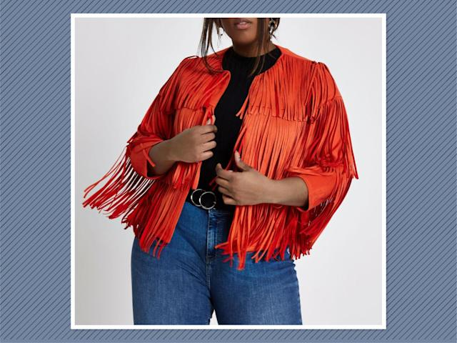 "<p>Plus Bright Red Faux Suede Fringe Jacket, $140, <a href=""https://us.riverisland.com/p/plus-bright-red-faux-suede-fringe-jacket-715451"" rel=""nofollow noopener"" target=""_blank"" data-ylk=""slk:River Island"" class=""link rapid-noclick-resp"">River Island</a> (Photo: River Island) </p>"