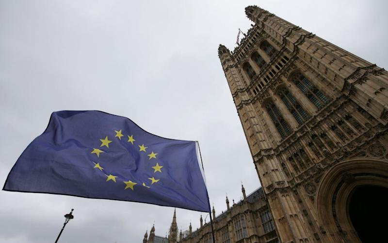 An anti-Brexit protester holds up a European Union (EU) flag near the Houses of Parliament in London, on March 29, 2017 - AFP