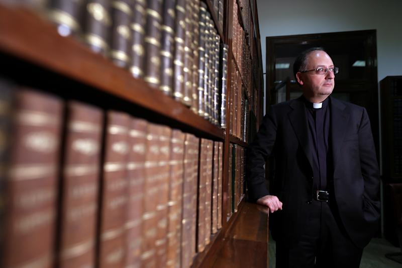 Jesuit Father Antonio Spadaro poses for a portrait session at Villa Malta, the 'Civilta' Cattolica' headquarters on March 28, 2013 in Rome, Italy. Spadaro is a Jesuit writer and theologian, he is also editor in chief of the Catholic paper 'La Civilta' Cattolica' and Pope Francis personal friend, after numerous interviews being held between the two.  (Franco Origlia via Getty Images)