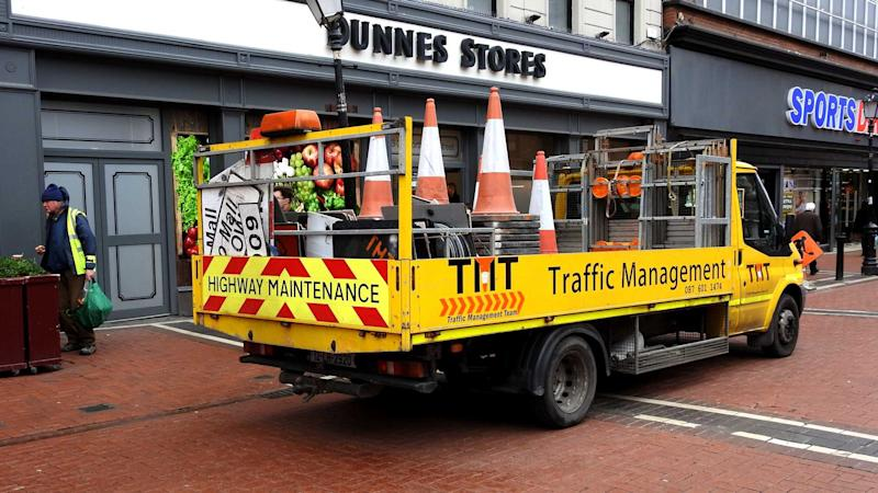 Traffic Management Highway Maintenance truck with traffic cones on Talbot Street Dublin city centre
