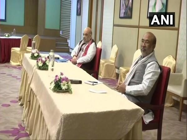 Home Minister Amit Shah and Manipur Chief Minister N Biren Singh interact with Civil Society Organisation leaders (Photo ANI)