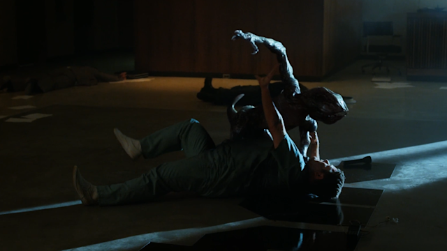 Bob (Astin) wrestles with a Demodog before his grisly demise (Photo: Netflix)