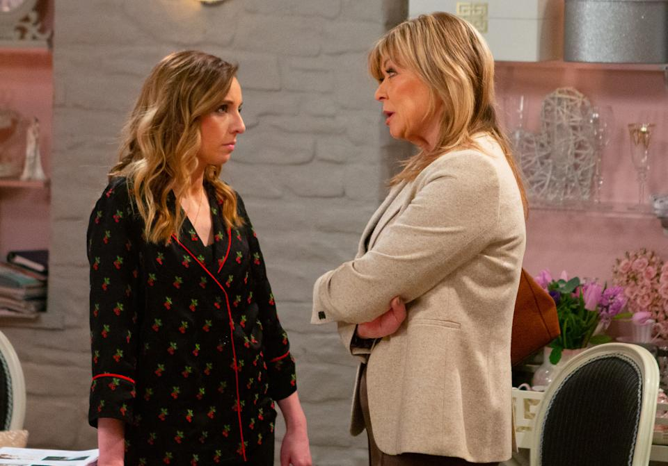 Andrea Tate [ANNA NIGHTGALE] plays dirty as she sets up a camera to trap Kim Tate [CLAIRE KING]. Andrea puts on the performance of a lifetime in order to get her to confess to conspiring to kill Graham. Soon Andrea's triumphant but is she premature in her excitement? (ITV Plc)