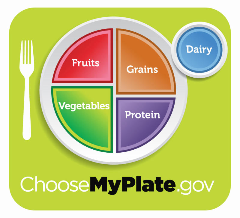 "This undated handout image provided by the Agriculture Department shows the department's new healthy eating symbol: My Plate. The Agriculture Department says its new healthy eating symbol _ called ""My Plate"" _ will show Americans that nutrition doesn't have to be complicated. (AP Photo/Agriculture Department)"