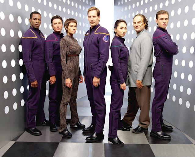 <p>Set 100 years before the original <em>Star Trek</em> series, the Enterprise officers were forced to wear a purple ensemble that their descendants wisely jettisoned. Also missing are the familiar Starfleet insignias, predated by circular arm patches instead.<br><br>(Photo: UPN/Courtesy Everett Collection) </p>