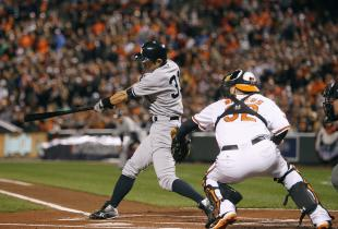 Ichiro Suzuki started his playoff run as a Yankee with an RBI double in the first inning. (Reuters)