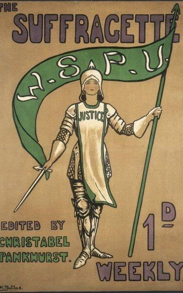 oster advertising the Suffragette newspaper, 1912. A suffragette dressed as Joan of Arc, patron saint of the suffragettes. The increasingly militant tone of the latter stages of the campaign is demonstrated by the use of this image, illustrated using the suffragette colours of purple, green and white. The newspaper was edited by Christabel Pankhurst, secretary of the Women's Social and Political Union and a leading figure in the campaign to obtain the vote for women. (Photo by Museum of London/Heritage Images/Getty Images) - Credit: Heritage Images/Hulton Archive