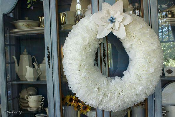 """<p>When attached to a wire template and fluffed to perfection, these coffee filters become a dreamy wreath that we'd imagine would fit in with just about any decor (especially this cute cottage one).</p><p><em><a href=""""http://www.adelightsomelife.com/2014/11/coffee-filter-christmas-wreath.html"""" rel=""""nofollow noopener"""" target=""""_blank"""" data-ylk=""""slk:Get the tutorial at A Delightsome Life »"""" class=""""link rapid-noclick-resp"""">Get the tutorial at A Delightsome Life »</a></em></p><p><strong>RELATED: </strong><a href=""""https://www.goodhousekeeping.com/holidays/christmas-ideas/g29322048/christmas-living-room-decor-ideas/"""" rel=""""nofollow noopener"""" target=""""_blank"""" data-ylk=""""slk:Pretty Christmas Living Room Décor Ideas for the Coziest Room in the House"""" class=""""link rapid-noclick-resp"""">Pretty Christmas Living Room Décor Ideas for the Coziest Room in the House</a></p>"""