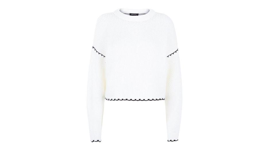 """<p>Wear this jumper under your weekend dungarees or paired with a ruffle skirt in the week for work. <em><a rel=""""nofollow noopener"""" href=""""http://www.newlook.com/uk/womens/clothing/knitwear/cream-contrast-whip-stitch-jumper/p/555612013?comp=Browse"""" target=""""_blank"""" data-ylk=""""slk:Buy here."""" class=""""link rapid-noclick-resp"""">Buy here.</a></em> </p>"""