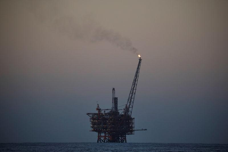 An oil platform is seen in the central Mediterranean Sea