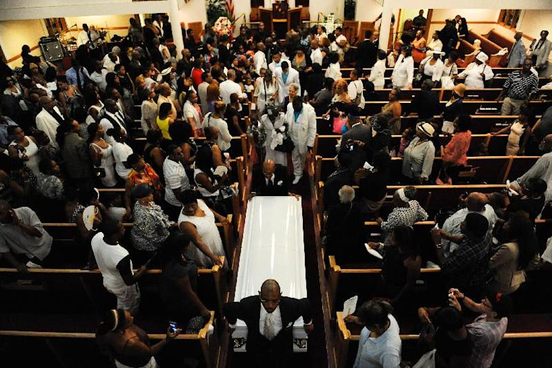 Funeral services for Eric Garner at a in Brooklyn, July 23, 2014