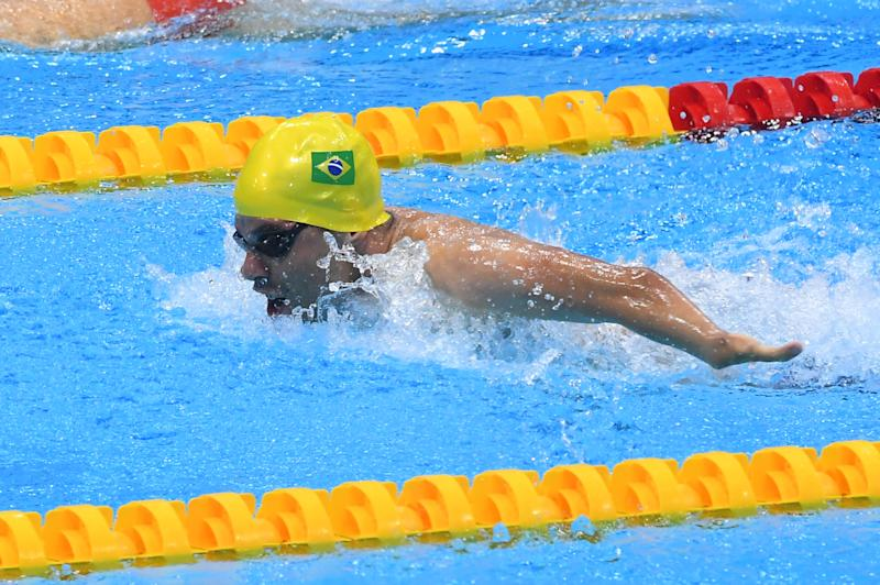 LONDON, ENGLAND - SEPTEMBER 12: Daniel Dias of Brazil competes in the Men's 50m Butterfly S5 during the London 2019 World Para-swimming Allianz Championships at Aquatics Centre on September 12, 2019 in London, England. (Photo by Moto Yoshimura/Getty Images)