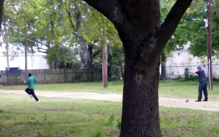 In this image from video, Walter Scott is fatally shot by North Charleston Police Officer Michael Thomas Slager.