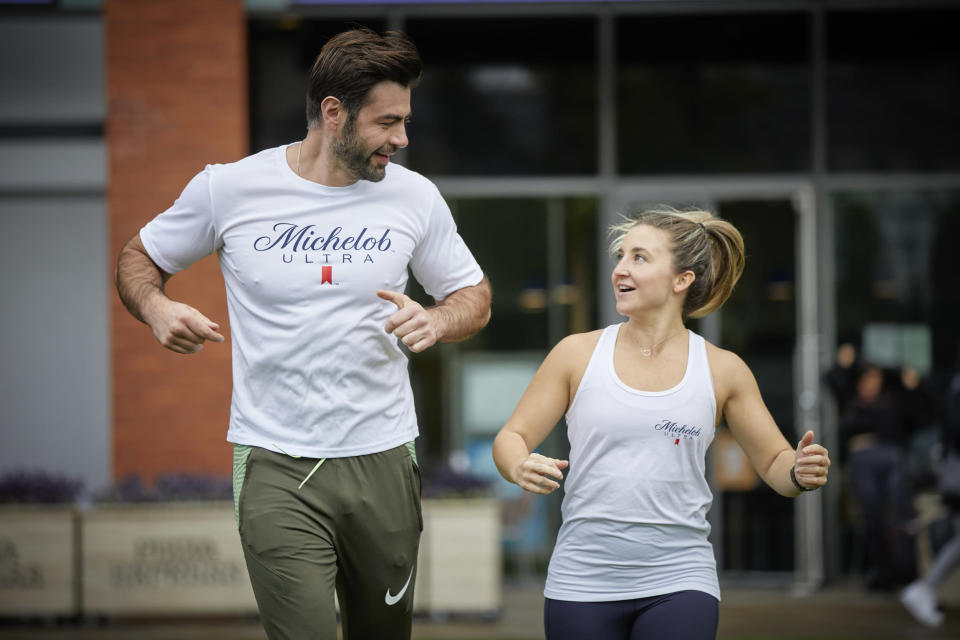 Actors Jazmine Franks (right) and David Tag (left) are running as part of the world record attempt (John Doe)