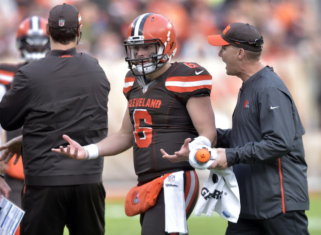 FILE - In this Sunday, Nov. 4, 2018, file photo, Cleveland Browns quarterback Baker Mayfield (6) reacts during an NFL football game against the Kansas City Chiefs in Cleveland. The Browns have dropped four in a row going into Sundays matchup with the Atlanta Falcons. (AP Photo/David Richard, File)