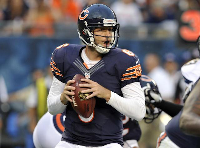 Chicago Bears quarterback Jay Cutler (6) looks for a receiver during the first half of the preseason NFL football game against the San Diego Chargers, Thursday, Aug. 15, 2013, in Chicago. (AP Photo/Jim Prisching)