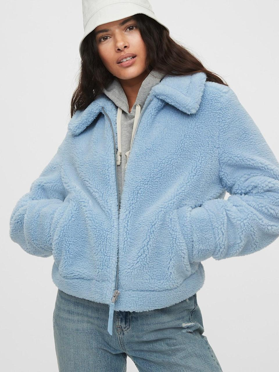 <p>We love the light blue shade of this <span>Gap Sherpa Jacket</span> ($98).</p>