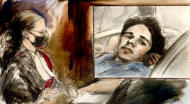 Brady Robertson is pictured in the inset top right, from a photo taken in hospital after a Brampton crash that killed a mother and three young daughters. Justice Sandra Caponecchia, bottom left, presided over his trial on Zoom on Monday.  (Sketch by Pam Davies - image credit)