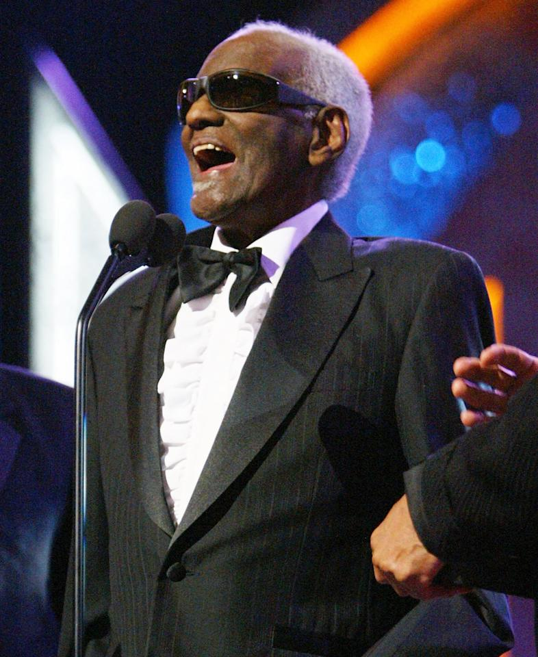 Musician Ray Charles on stage at the 35th Annual NAACP Image Awards held at the Universal Amphitheatre, March 6, 2004 in Hollywood, California, where he was inducted into the NAACP Hall of Fame. Ray Charles has been nominated for numerous Awards at the 47th Annual Grammy Awards at the Staples Center February 13, 2005 in Los Angeles, California.  (Photo by Frank Micelotta/Getty Images)